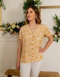 Υφασμάτινα Γυναίκα Μπλούζες Céleste MESANGE Yellow / Άσπρο