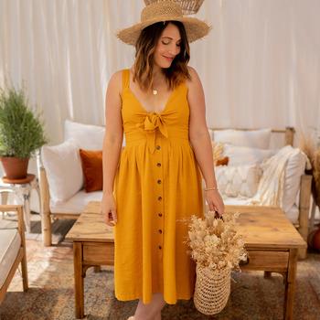 Υφασμάτινα Γυναίκα Μακριά Φορέματα Céleste CAMOMILLE Yellow