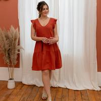 Υφασμάτινα Γυναίκα Κοντά Φορέματα Céleste DAHLIA  terracotta