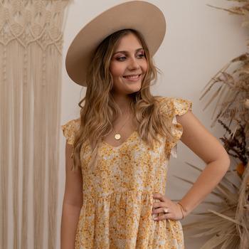 Υφασμάτινα Γυναίκα Κοντά Φορέματα Céleste DAHLIA Yellow / Άσπρο