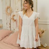 Υφασμάτινα Γυναίκα Κοντά Φορέματα Céleste DAHLIA Άσπρο
