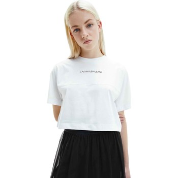 Υφασμάτινα Γυναίκα T-shirt με κοντά μανίκια Calvin Klein Jeans J20J215313 λευκό