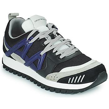 Παπούτσια Άνδρας Χαμηλά Sneakers Emporio Armani BOLINNA Black / Άσπρο / Μπλέ
