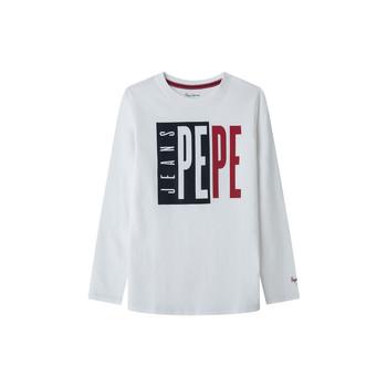 Υφασμάτινα Αγόρι Μπλουζάκια με μακριά μανίκια Pepe jeans AARON Άσπρο