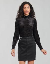 Υφασμάτινα Γυναίκα Μπλουζάκια με μακριά μανίκια Morgan TISPI Black