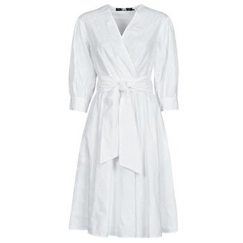 Υφασμάτινα Γυναίκα Κοντά Φορέματα Karl Lagerfeld LOGO EMROIDERED SHIRT DRESS Άσπρο