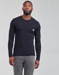 Υφασμάτινα Άνδρας Μπλουζάκια με μακριά μανίκια Guess CN LS CORE TEE Marine