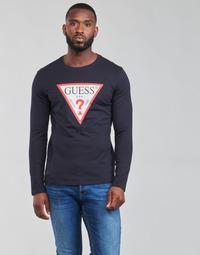 Υφασμάτινα Άνδρας Μπλουζάκια με μακριά μανίκια Guess CN LS ORIGINAL LOGO TEE Marine
