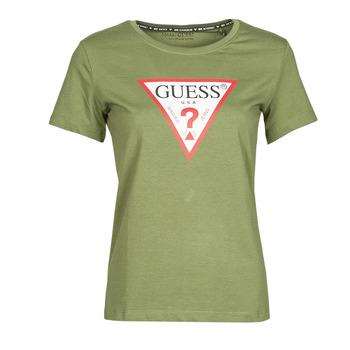 Υφασμάτινα Γυναίκα T-shirt με κοντά μανίκια Guess SS CN ORIGINAL TEE Kaki