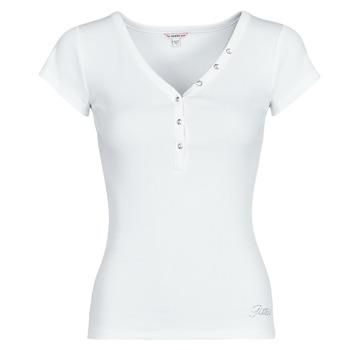 Υφασμάτινα Γυναίκα T-shirt με κοντά μανίκια Guess ES SS V NECK LOGO HENLEY TEE Άσπρο