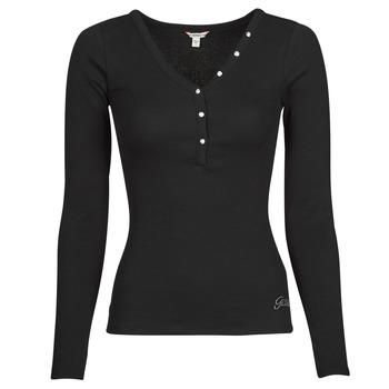 Υφασμάτινα Γυναίκα Μπλουζάκια με μακριά μανίκια Guess ES LS V NECK LOGO HENLEY TEE Black