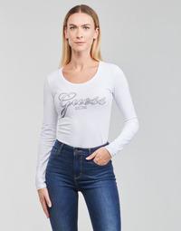 Υφασμάτινα Γυναίκα Μπλουζάκια με μακριά μανίκια Guess LS CN RAISA TEE Άσπρο