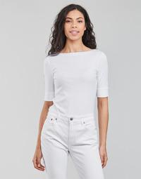 Υφασμάτινα Γυναίκα Μπλουζάκια με μακριά μανίκια Lauren Ralph Lauren JUDY-ELBOW SLEEVE-KNIT Άσπρο