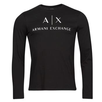 Υφασμάτινα Άνδρας Μπλουζάκια με μακριά μανίκια Armani Exchange 8NZTCH Black