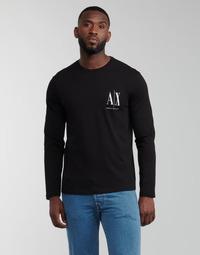 Υφασμάτινα Άνδρας Μπλουζάκια με μακριά μανίκια Armani Exchange 8NZTPL Black