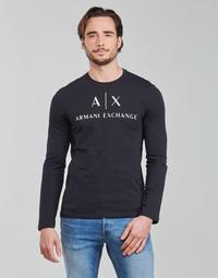 Υφασμάτινα Άνδρας Μπλουζάκια με μακριά μανίκια Armani Exchange 8NZTCH Marine