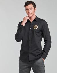 Υφασμάτινα Άνδρας Πουκάμισα με μακριά μανίκια Versace Jeans Couture SLIM PRINT V EMBLEM GOLD Black / Gold