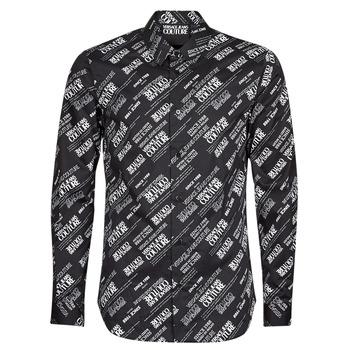 Υφασμάτινα Άνδρας Πουκάμισα με μακριά μανίκια Versace Jeans Couture SLIM PRINT WARRANTY Black / Άσπρο