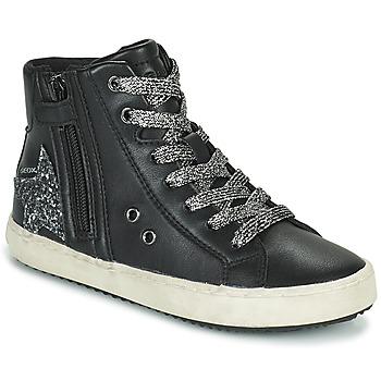 Παπούτσια Κορίτσι Ψηλά Sneakers Geox KALISPERA Black / Argenté