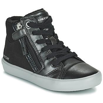 Παπούτσια Κορίτσι Ψηλά Sneakers Geox GISLI Black / Silver