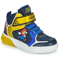 Παπούτσια Αγόρι Ψηλά Sneakers Geox GRAYJAY Μπλέ / Yellow