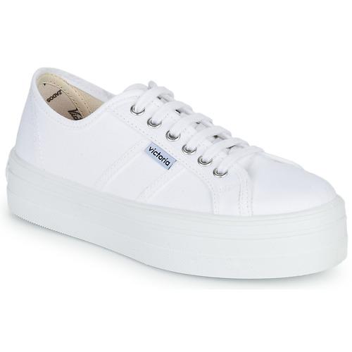 Παπούτσια Γυναίκα Χαμηλά Sneakers Victoria BLUCHER LONA PLATAFORMA Άσπρο