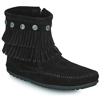 Παπούτσια Γυναίκα Μπότες Minnetonka DOUBLE FRINGE SIDE ZIP BOOT Black