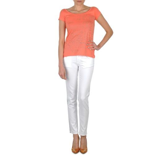 Υφασμάτινα Γυναίκα Skinny Τζιν  Calvin Klein Jeans JEAN BLANC BORDURE ARGENTEE άσπρο