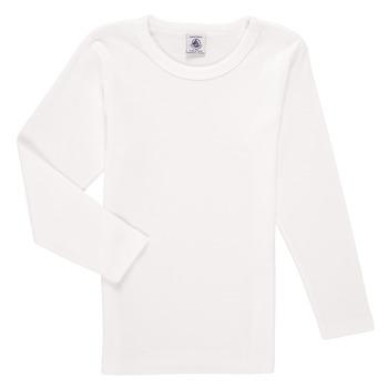 Υφασμάτινα Αγόρι Μπλουζάκια με μακριά μανίκια Petit Bateau KELOMA Άσπρο