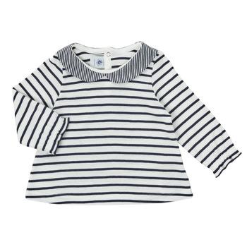Υφασμάτινα Κορίτσι Μπλουζάκια με μακριά μανίκια Petit Bateau HOLINU Άσπρο / Μπλέ