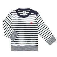 Υφασμάτινα Αγόρι Μπλουζάκια με μακριά μανίκια Petit Bateau IGRAE Άσπρο / Μπλέ
