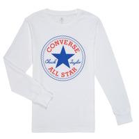 Υφασμάτινα Αγόρι Μπλουζάκια με μακριά μανίκια Converse CHUCK PATCH LONG SLEEVE TEE Άσπρο