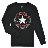 Υφασμάτινα Αγόρι Μπλουζάκια με μακριά μανίκια Converse CHUCK PATCH LONG SLEEVE TEE Black