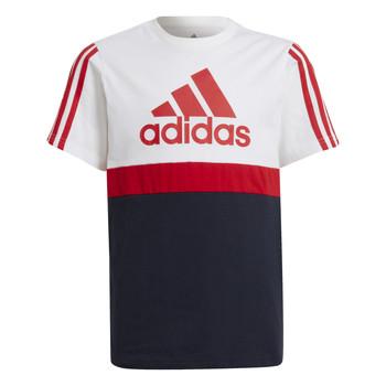 Υφασμάτινα Αγόρι T-shirt με κοντά μανίκια adidas Performance GUILIA Άσπρο / Marine