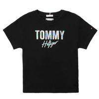Υφασμάτινα Κορίτσι T-shirt με κοντά μανίκια Tommy Hilfiger SAMIA Black