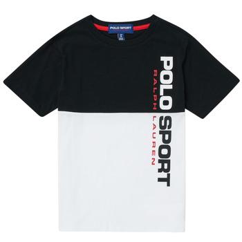 Υφασμάτινα Αγόρι T-shirt με κοντά μανίκια Polo Ralph Lauren KAMILA Άσπρο / Black