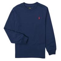 Υφασμάτινα Αγόρι Μπλουζάκια με μακριά μανίκια Polo Ralph Lauren KEMILO Marine