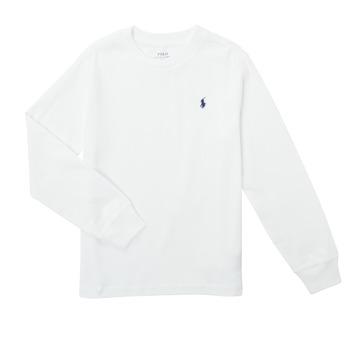 Υφασμάτινα Αγόρι Μπλουζάκια με μακριά μανίκια Polo Ralph Lauren KEMILO Άσπρο