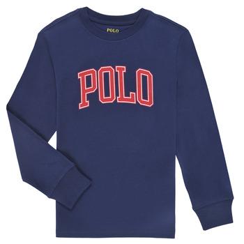 Υφασμάτινα Αγόρι Μπλουζάκια με μακριά μανίκια Polo Ralph Lauren METIKA Marine