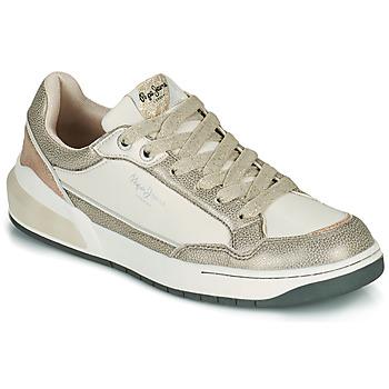 Παπούτσια Γυναίκα Χαμηλά Sneakers Pepe jeans MARBLE GLAM Άσπρο / Gold
