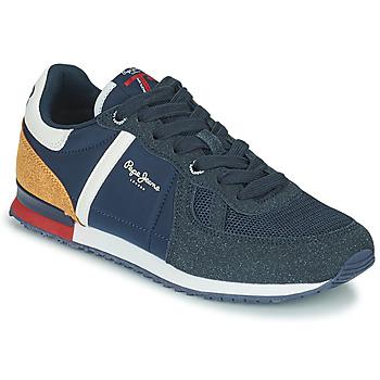 Παπούτσια Αγόρι Χαμηλά Sneakers Pepe jeans SYDNEY COMBI BOY Marine / Brown