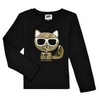 Υφασμάτινα Κορίτσι Μπλουζάκια με μακριά μανίκια Karl Lagerfeld AMETHYSTE Black