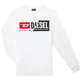 Υφασμάτινα Παιδί Μπλουζάκια με μακριά μανίκια Diesel TDIEGOCUTY ML Άσπρο