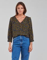 Υφασμάτινα Γυναίκα Μπλούζες Vila VIZUGI Black / Yellow / Μπλέ
