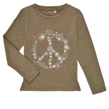 Υφασμάτινα Κορίτσι Μπλουζάκια με μακριά μανίκια Name it NKFKALINDA LS TOP Taupe
