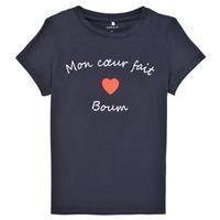 Υφασμάτινα Κορίτσι T-shirt με κοντά μανίκια Name it NKFKLORA SS TOP Marine