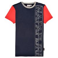 Υφασμάτινα Αγόρι T-shirt με κοντά μανίκια Napapijri SAOBAB Marine / Red