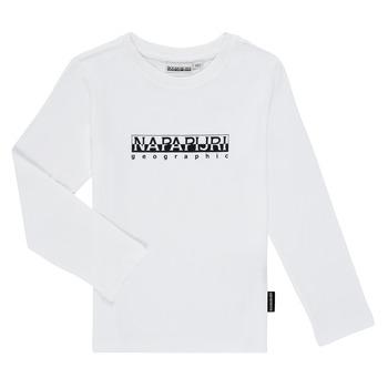 Υφασμάτινα Αγόρι Μπλουζάκια με μακριά μανίκια Napapijri S-BOX LS Άσπρο