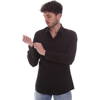 Υφασμάτινα Άνδρας Πουκάμισα με μακριά μανίκια Gaudi 111GU45001 Μαύρος