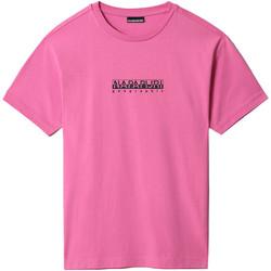 Υφασμάτινα T-shirt με κοντά μανίκια Napapijri NP0A4FF5 Ροζ